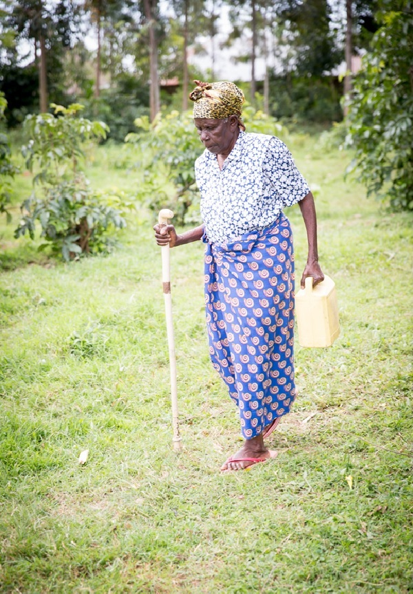 Sr. Fidelis' mother walking with cane