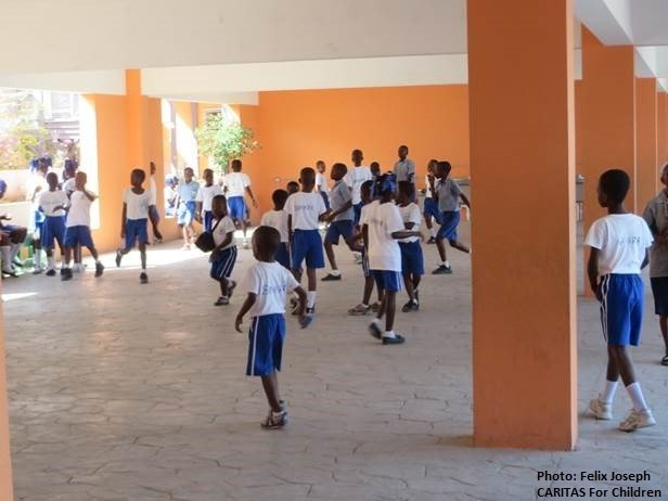 students at recess at Saint Francois de Salles School in Riviere Froide, Haiti