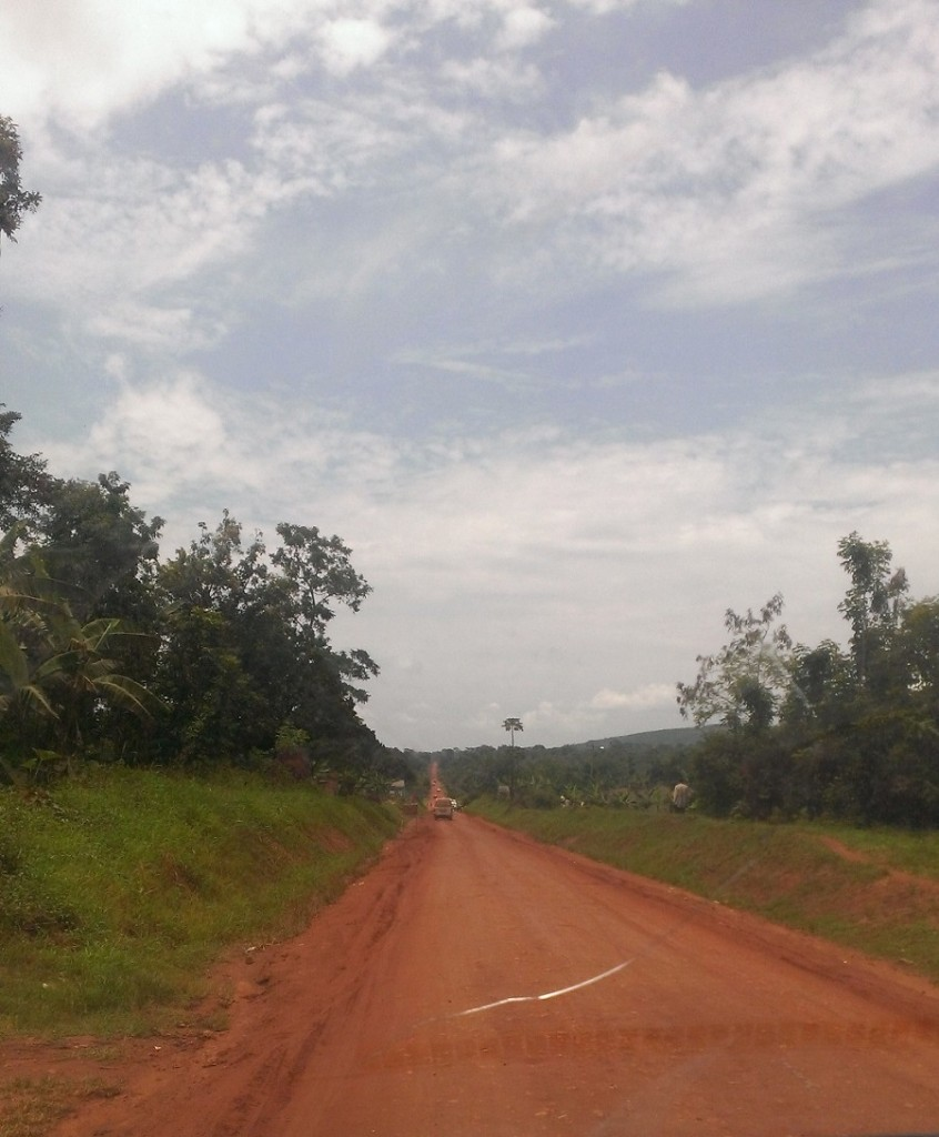 Red clay roads are typical of local roads. They get as slippery as ice on rainy days.
