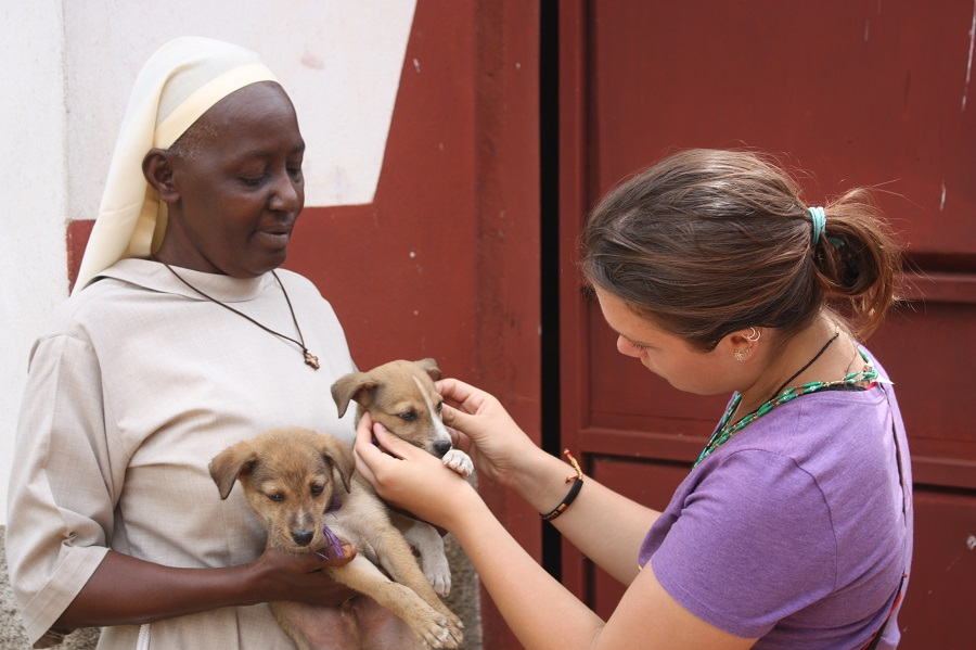 Sr. Immaculate adopting two of the CARITAS puppies