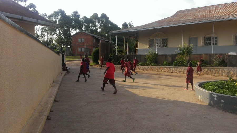 Playing soccer in the courtyard