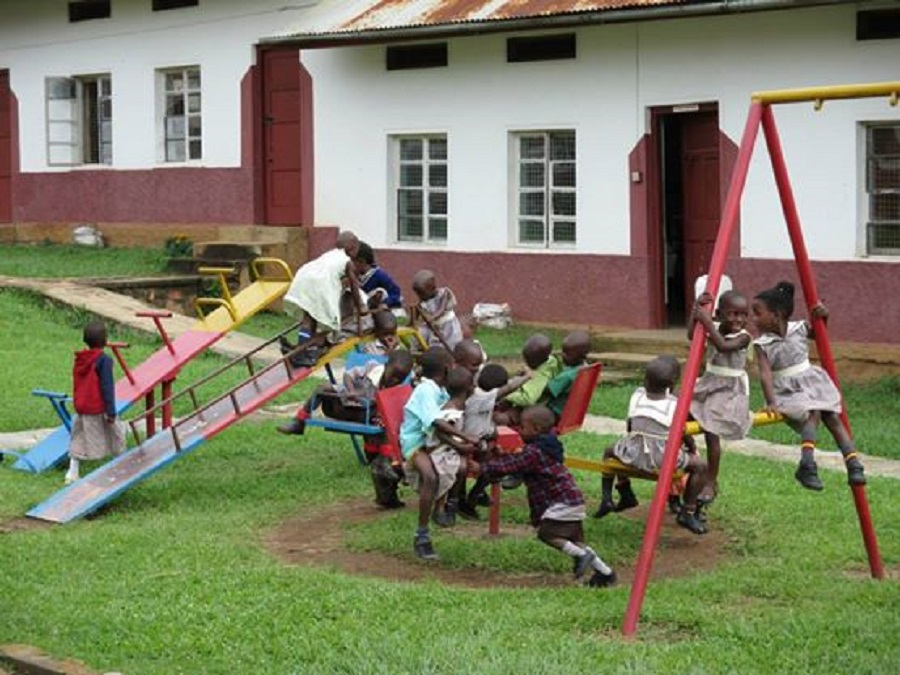 The children at St. Anthony's play outside during their recess.