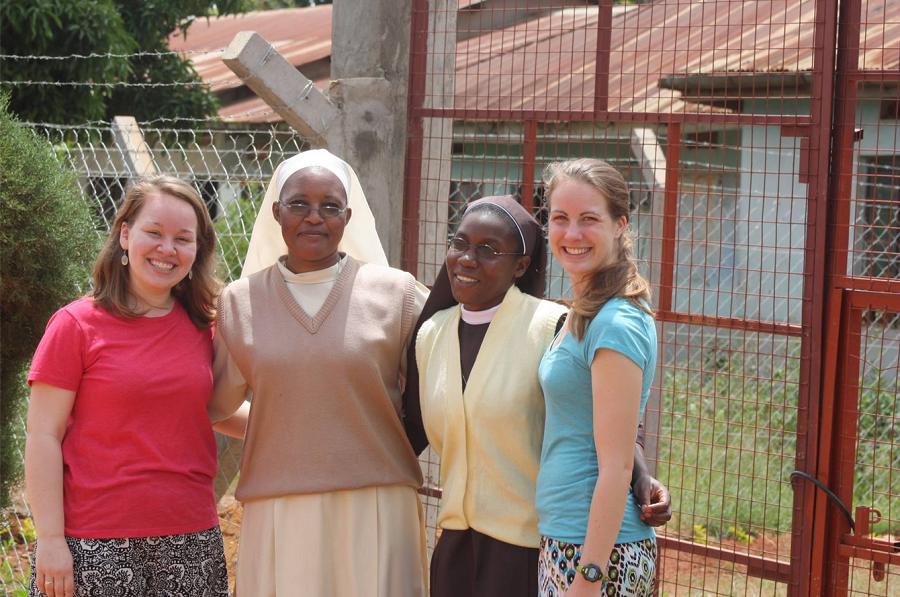 Sr. Lucy with Amber, Emily, and Program Coordinator Sr. Carolyne