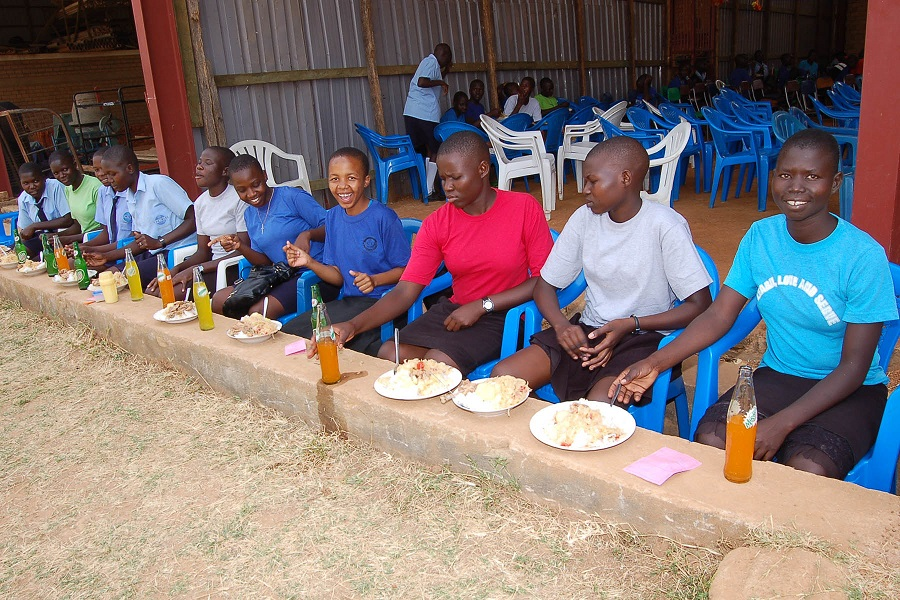 students eating a special meal