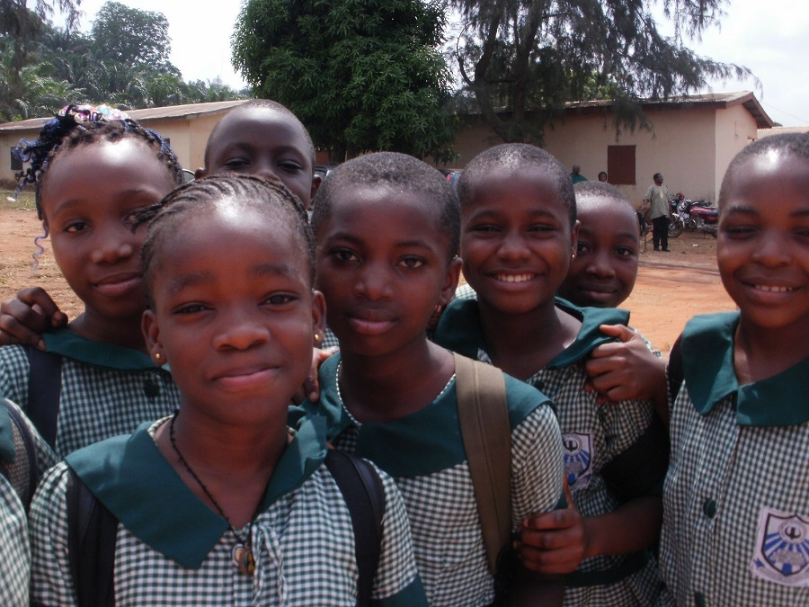 Image of students from Holy Infants School in Nigeria