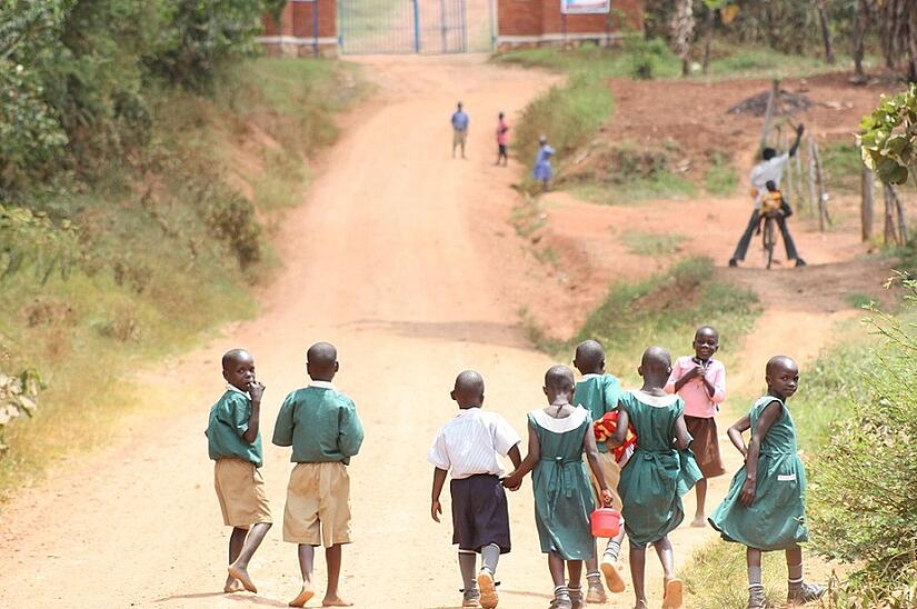 Day school children walking home from school