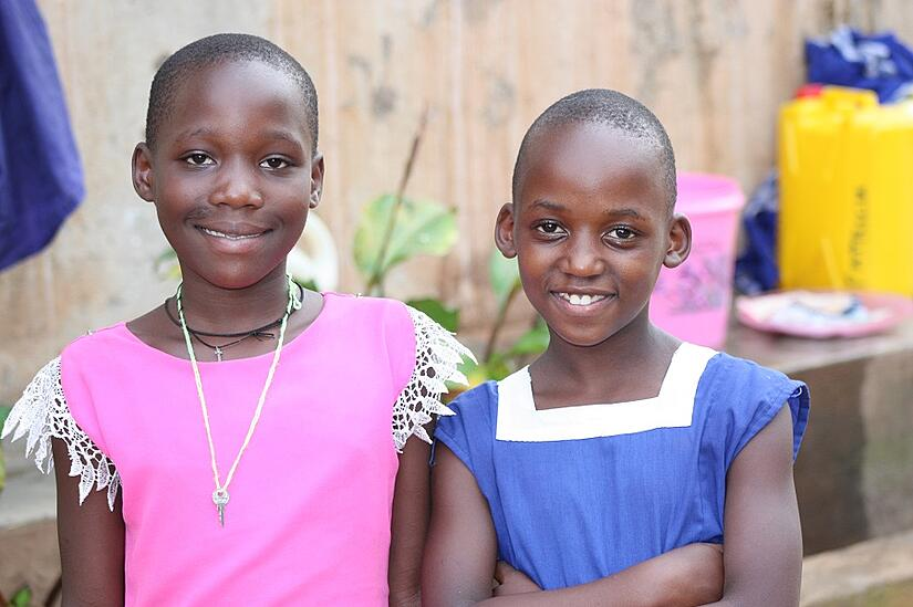 Cleire and her new friend Nadia at Stella Maris Boarding School