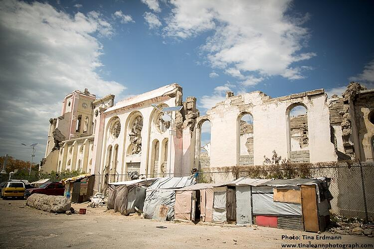crumbling structure of earthquake damaged cathedral in Port au Prince, Haiti