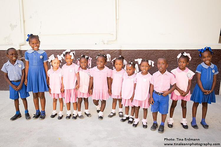 a group of Haitian boys and girls