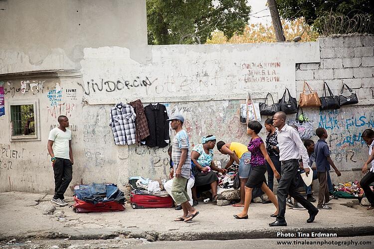 people walking in Port au Prince, Haiti