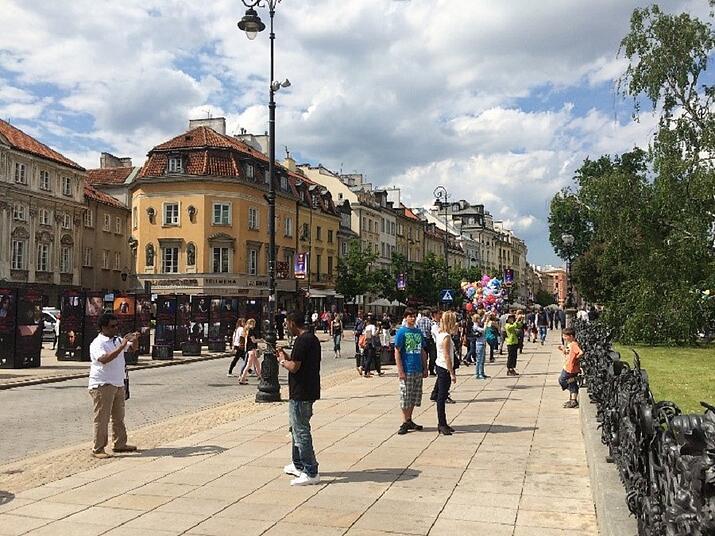 street scene in Warsaw, Poland